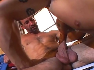 Muscle fastened fellow loves jock slamming