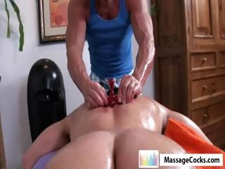 Studly masseuse gives gay boy Dylan a unfathomable massage with toys