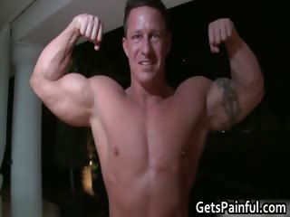 Tattooed hunk gets his tiny arse drilled