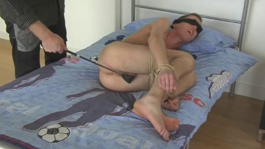 Blond homosexual chap acquires blindfolded and spanked with a horse whip