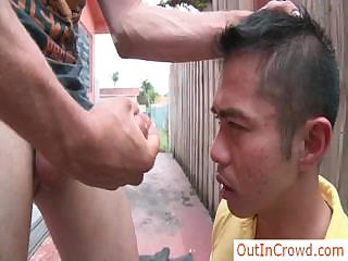 Oriental man assfucked outdoors by outincrowd
