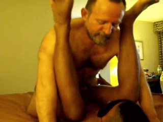 2 Large shaggy old DAD's use BLACK blindfolded guy TWINK