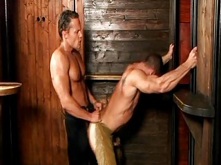 Turned on impressive homo cowboys ride every others weenie doggy style