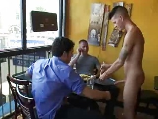 Bdsm gay fuck by group of patrons in reastaurant