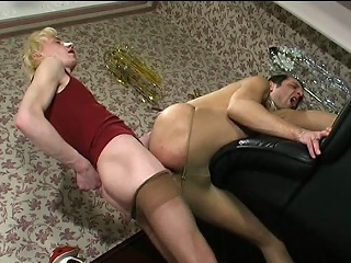 Steamy males in lacy tights taking wild joy from their well-hung...