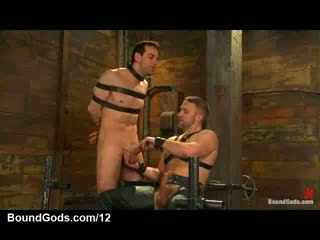 Bound homosexual receives tit torment and pecker jerked off in dungeon