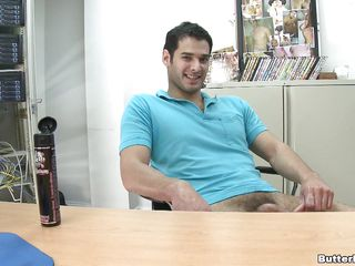 A man is riding another guy's cock, then acquires screwed on the computer desk in missionary position. This chab acquires on his knees and strokes the other guy's jock making it throw love juice on his face. Sitting in his chair, this guy starts to wank, and keeps doing it until this guy ejaculates.