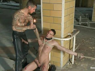 Tattooed naughty dude is playing with this bound up pretty boy. He induces him a lot of pang as this guy uses that candle to heat up certain parts of his body, especially his sweet hard dick. The dude is bound up with rope and either this guy loves it or not this dude is going to do anything this guy wants with his sexy body. Stay with 'em as the torment proceeds and the oral u saw is just the beginning!