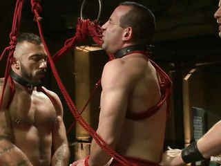 2 sexy homosexuals are bound with rope and they obey the will of their executor. One of the sex slave is between 'em and he's bent over to acquire fucked in the ass while the other obedient homo fucks his mouth. After that the executor hangs 'em both, treating 'em the same. Will this guy train 'em one time afresh how's the boss?