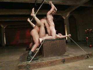 This guy is the boss and this chab doesn't shows weakness in front of his homosexual slaves. One of the boys is bound on the table, the other one is on top of him and this chab is showing the one and the other of 'em how has the power, permeating that asshole with his hard, alfa cock. Wish to watch how else this chab is submitting his slaves?