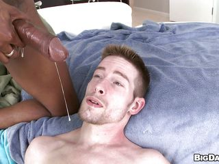 This lascivious white guy is getting his hot round arse drilled unfathomable by a long hard wooden cock. That guy feels that powerful pecker going inside him deeper and deeper stretching his juicy chocolate hole to the maximum making him groaning and screaming of pleasure, finishing with a admirable spunk fountain right in the face.