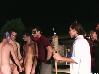 Fantastic guy with fastened eyes sucking 3 biggest loaded cocks!