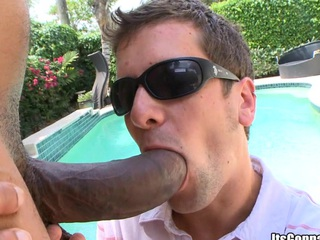 Biggest black cock bands his throat hole and after that his asshole!