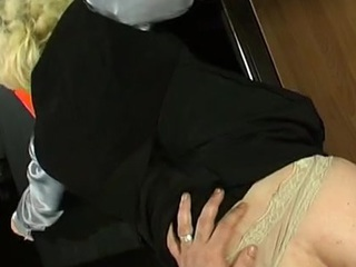 Kickass sissy guy getting pounded up his constricted poop chute right in office