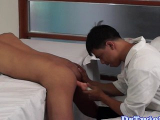 Asian doctor goes down on an ethnic twink