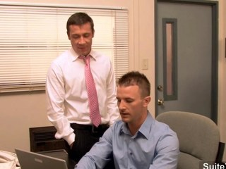 Beautiful homo receives ass group-fucked in the office segment