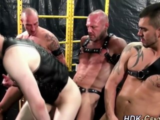 homosexual chaps are wearing some leather and being taskmaster